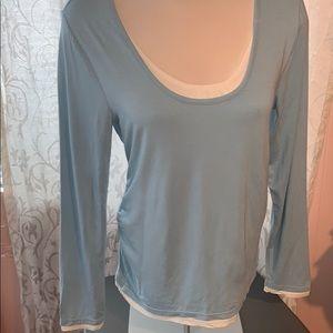 Lightweight blue & white long sleeve top